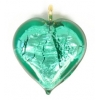 Glass Lamp Pendant Heart 13mm Emerald/Silver